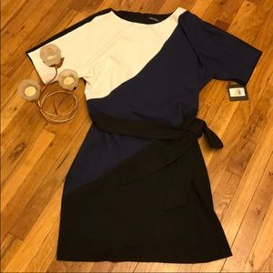 Ellen Tracy dress lined plus navy/white/Black,NWT